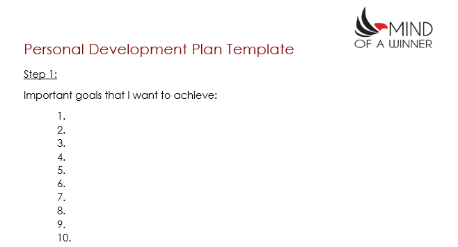 How to create a personal development plan mind of a winner for Personal wellness plan template