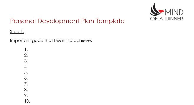 Plan de développement personnel - Objectifs